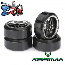 Ruedas de Drift Absima 9 Spoke/Profile C cromo Negras 12 mm 1/10
