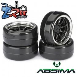 Ruedas de Drift Absima 9 Spoke / Profile B Negro Cromo 12 mm 1/10