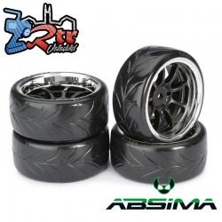 Ruedas de Drift Absima 9 Spoke / Profile A Negro Cromo 12 mm 1/10