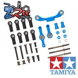 Juego de dirección de tirantes largos de aluminio azul Tamiya TT-02S 54965