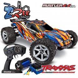 Traxxas Rustler VXL 4x4 Brushless TSM Truggy Anaranjado RTR
