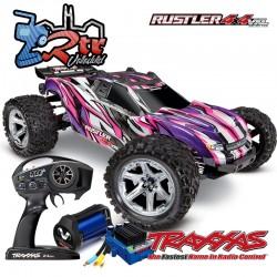 Traxxas Rustler VXL 4x4 Brushless TSM Truggy Rosa RTR