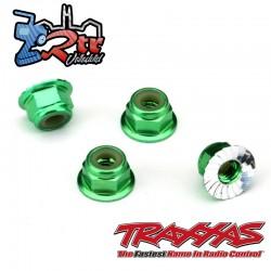 Tuercas de seguridad 4mm Aluminio Verde Traxxas TRA1747G