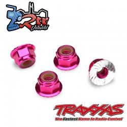 Tuercas de seguridad 4mm Aluminio Rosa Traxxas TRA1747P