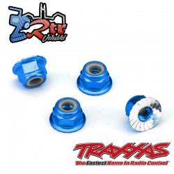 Tuercas de seguridad 4mm Aluminio Azul Traxxas TRA1747X