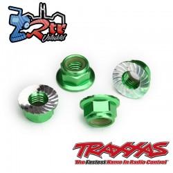 Tuerca de seguridad 5mm dentada Aluminio Verde Traxxas TRA8447G