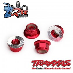 Tuerca de seguridad 5mm dentada Aluminio Rojo de Traxxas TRA8447R