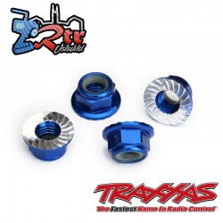 Tuerca de seguridad 5mm dentada Aluminio Azul de Traxxas TRA8447X