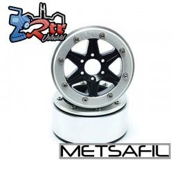 Llantas Metsafil 1.9 beadlock PT-Sixstar Negro/Plata (2 Unidades)