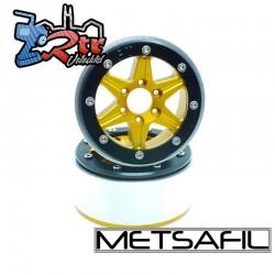 Llantas Metsafil 1.9 beadlock PT-Sixstar Oro/Negro (2 Unidades)