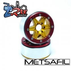 Llantas Metsafil 1.9 beadlock PT-Sixstar Oro/Rojo (2 Unidades)