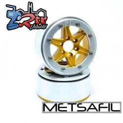 Llantas Metsafil 1.9 beadlock PT-Sixstar Oro/Plata (2 Unidades)
