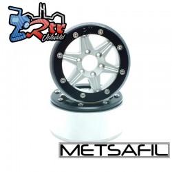 Llantas Metsafil 1.9 beadlock PT-Sixstar Plata/Negro (2 Unidades)