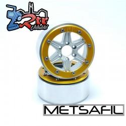 Llantas Metsafil 1.9 beadlock PT-Sixstar Plata/Oro (2 Unidades)