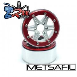Llantas Metsafil 1.9 beadlock PT-Sixstar Plata/Rojo (2 Unidades)