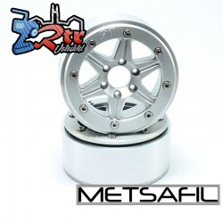 Llantas Metsafil 1.9 beadlock PT-Sixstar Plata/Plata (2 Unidades)