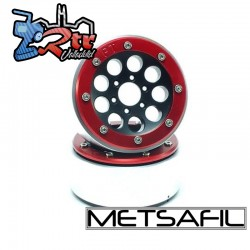 Llantas Metsafil 1.9 beadlock PT-Gum Negro/Rojo (2 Unidades)