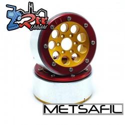 Llantas Metsafil 1.9 beadlock PT-Gum Oro/Rojo (2 Unidades)