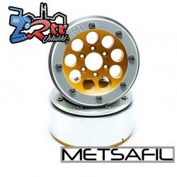 Llantas Metsafil 1.9 beadlock PT-Gum Oro/Plata (2 Unidades)