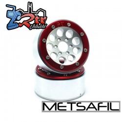 Llantas Metsafil 1.9 beadlock PT-Gum Plata/Rojo (2 Unidades)