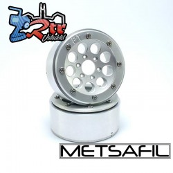 Llantas Metsafil 1.9 beadlock PT-Gum Plata/Plata (2 Unidades)