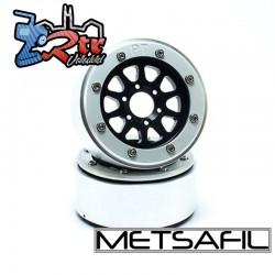 Llantas Metsafil 1.9 beadlock PT-Gear Negro/Plata (2 Unidades)