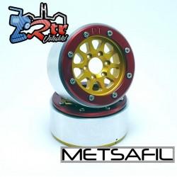 Llantas Metsafil 1.9 beadlock PT-Gear Oro/Rojo (2 Unidades)