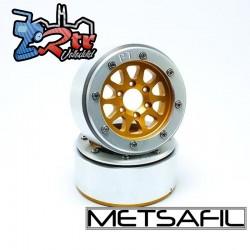 Llantas Metsafil 1.9 beadlock PT-Gear Oro/Plata (2 Unidades)