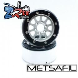 Llantas Metsafil 1.9 beadlock PT-Gear Plata/Negro (2 Unidades)