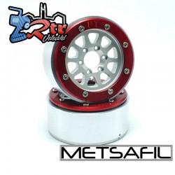 Llantas Metsafil 1.9 beadlock PT-Gear Plata/Rojo (2 Unidades)