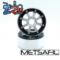 Llantas Metsafil 1.9 beadlock PT-Gear Plata/Plata (2 Unidades)