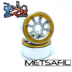 Llantas Metsafil 1.9 beadlock PT-Gear Plata/Oro (2 Unidades)