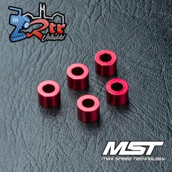 Arandela MST aluminio 3x5.5x4.0mm rojo (5 piezas) MST820011R