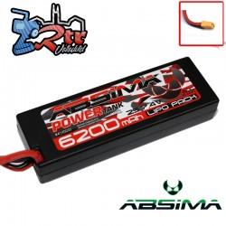 Lipo Absima Power Tank 2s 7.4 Volts 6200 Mha 60C Caja dura Conector XT90