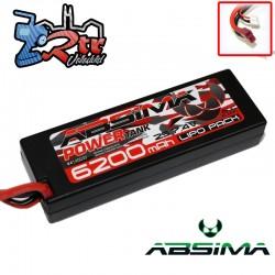 Lipo Absima Power Tank 2s 7.4 Volts 6200 Mha 60C Caja dura Conector TPlug