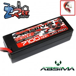 Lipo Absima Power Tank 3s 11.1 Volts 7100 Mha 60C Caja dura Conector TDeam