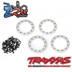 """Anillos Beadlock, satinados 1.9 """" aluminio 4 Unidades tornillos 2x10 48 Unidades Traxxas TRA8169"""