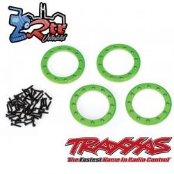"""Anillos Beadlock, Verde 1.9 """" aluminio 4 Unidades tornillos 2x10 48 Unidades Traxxas TRA8169G"""