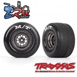 Neumáticos y ruedas traseras ensambladas pegadas Negro Cromo Brillante Drag Slash Traxxas TRA9475A