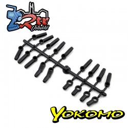 Rotulas de plástico de extremo de varilla Yokomo negro